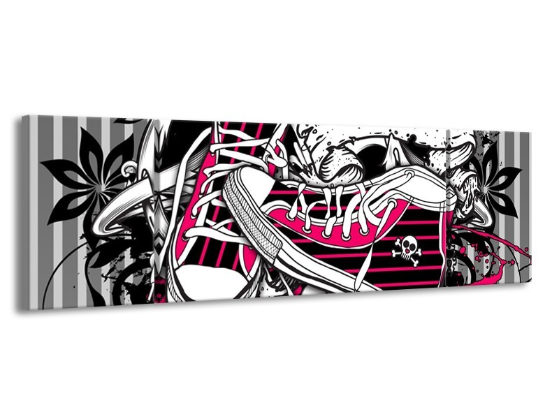 Glas schilderij Popart | Zwart, Roze, Wit | 170x50cm 3Luik