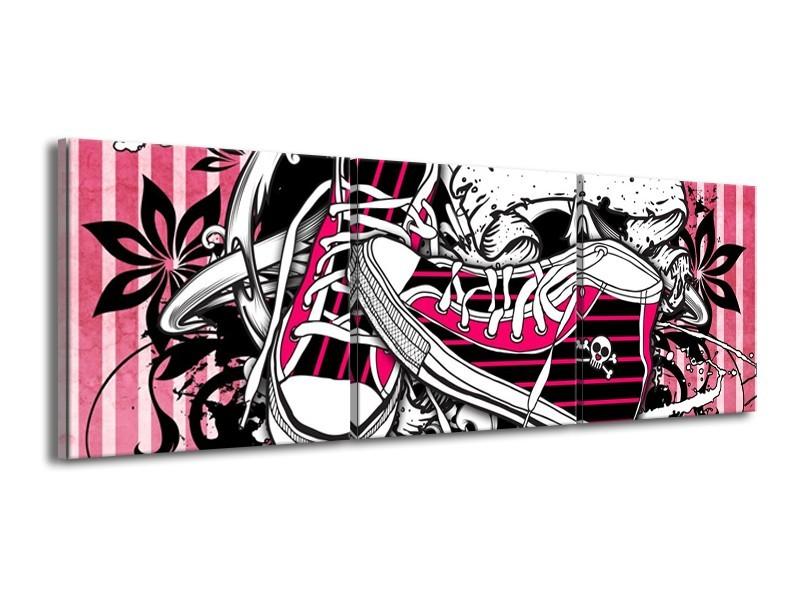 Glas schilderij Popart | Zwart, Roze, Wit | 150x50cm 3Luik