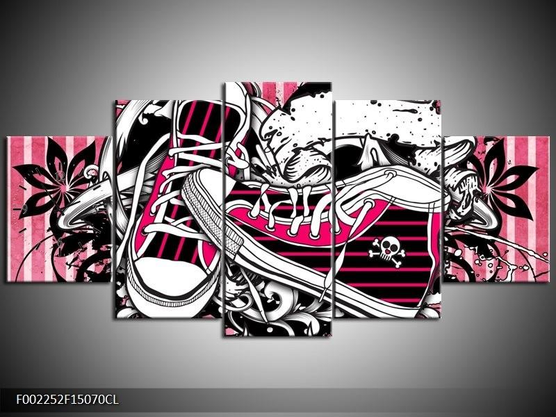 Klok schilderij Popart | Zwart, Roze, Wit | 150x70cm 5Luik