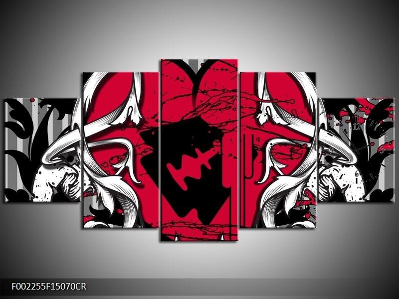 Klok schilderij Popart | Rood, Zwart, Grijs | 150x70cm 5Luik