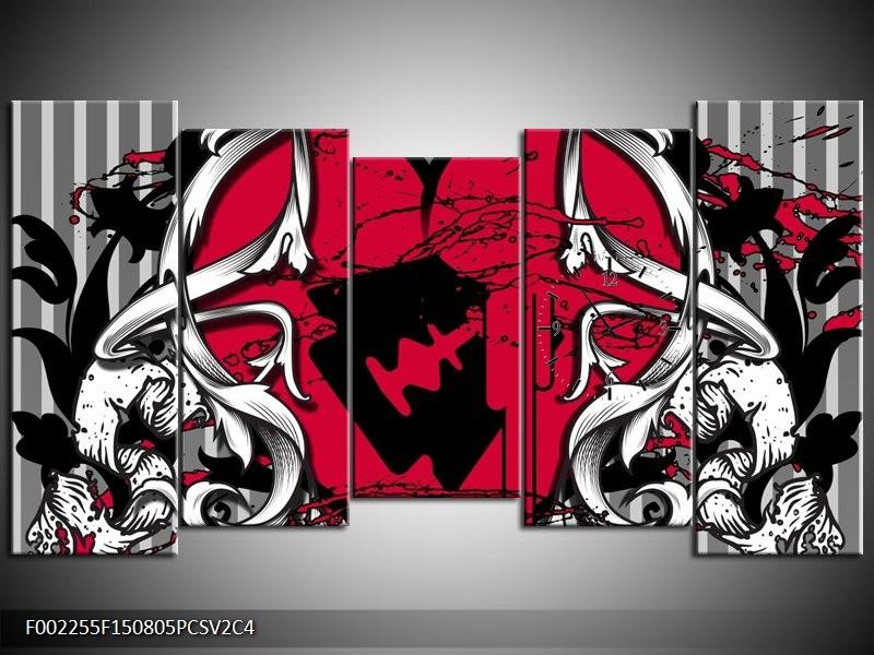 Klok schilderij Popart | Rood, Zwart, Grijs | 150x80cm 5Luik