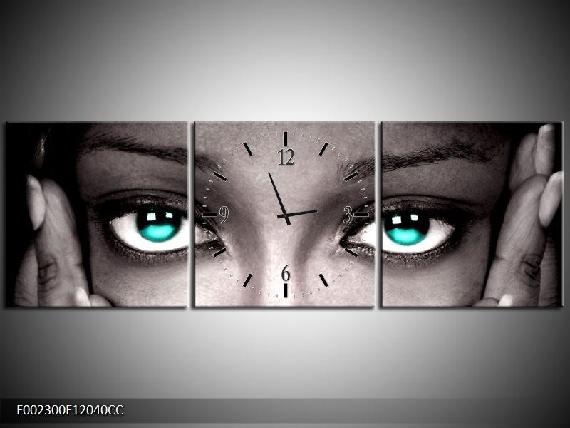 Klok schilderij Gezicht | Zwart, Wit, Blauw | 120x40cm 3Luik