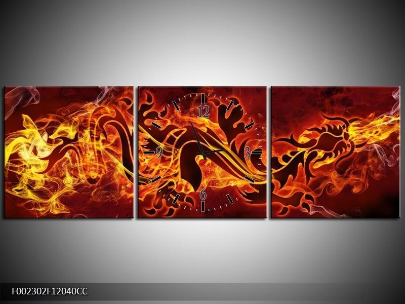 Klok schilderij Abstract | Rood, Geel, Oranje | 120x40cm 3Luik