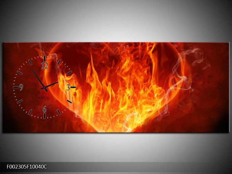 Klok schilderij Hart   Rood, Geel, Oranje   100x40cm 1Luik
