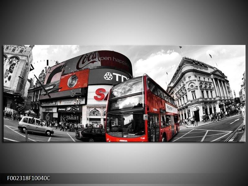 Klok schilderij London | Zwart, Grijs, Rood | 100x40cm 1Luik
