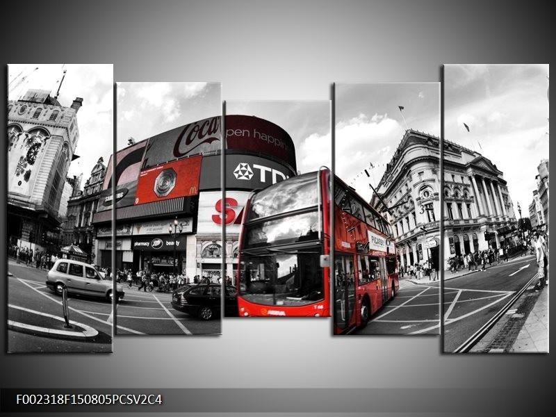 Klok schilderij London | Zwart, Grijs, Rood | 150x80cm 5Luik