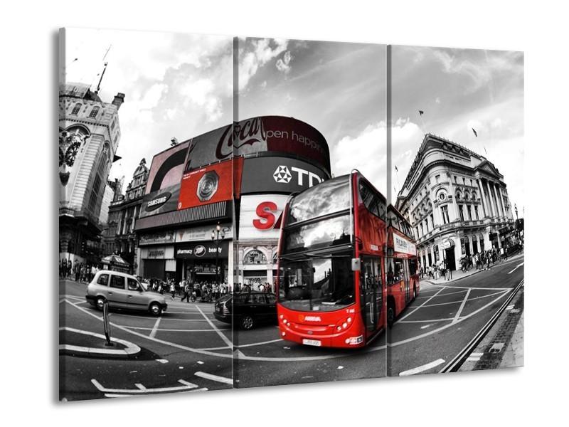Canvas schilderij London | Zwart, Grijs, Rood | 90x60cm 3Luik