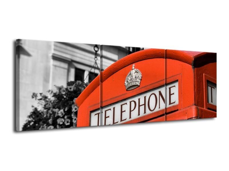 Glas schilderij Engeland   Zwart, Wit, Rood   120x40cm 3Luik