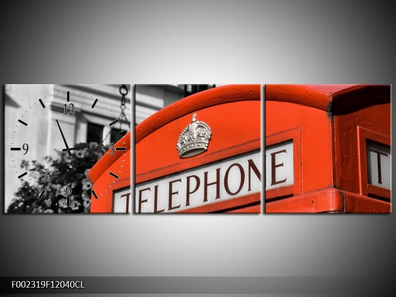 Klok schilderij Engeland | Zwart, Wit, Rood | 120x40cm 3Luik