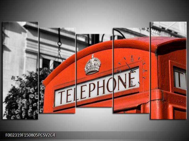 Klok schilderij Engeland | Zwart, Wit, Rood | 150x80cm 5Luik