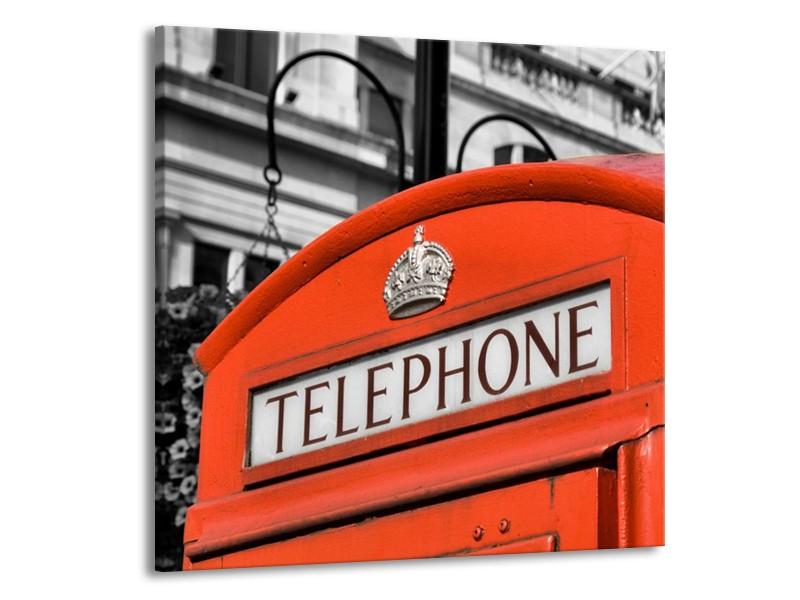 Glas schilderij Engeland   Zwart, Wit, Rood   50x50cm 1Luik