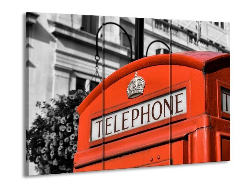Canvas schilderij Engeland | Zwart, Wit, Rood | 90x60cm 3Luik
