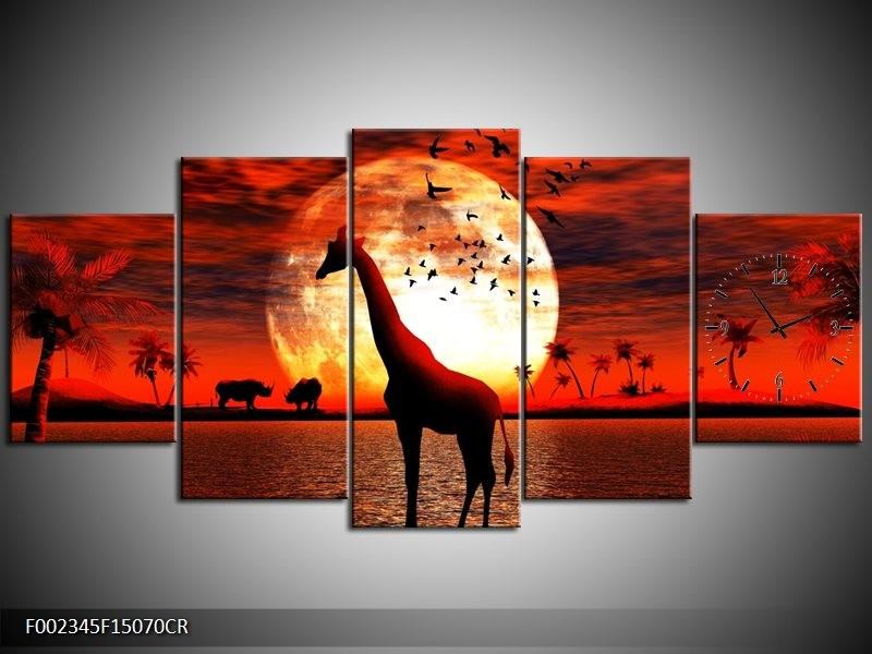 Klok schilderij Dieren   Rood, Wit, Zwart   150x70cm 5Luik