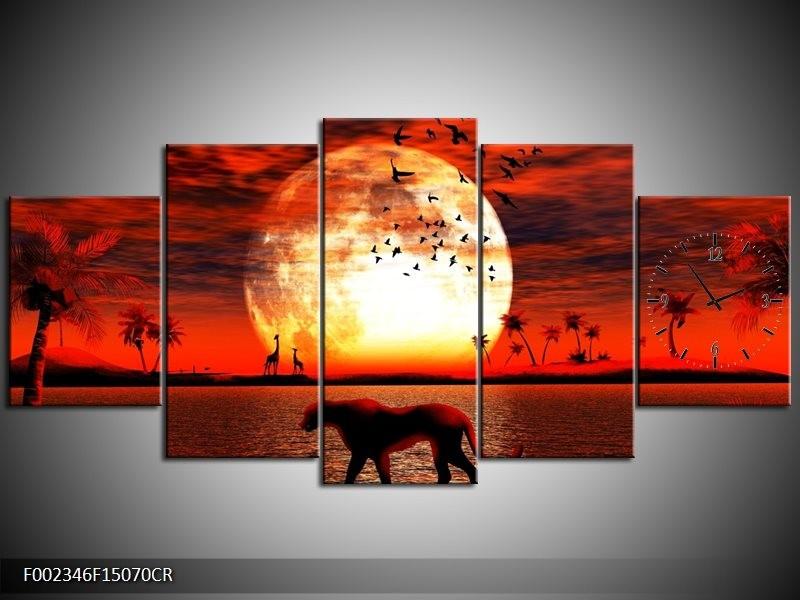 Klok schilderij Dieren   Rood, Zwart, Oranje   150x70cm 5Luik