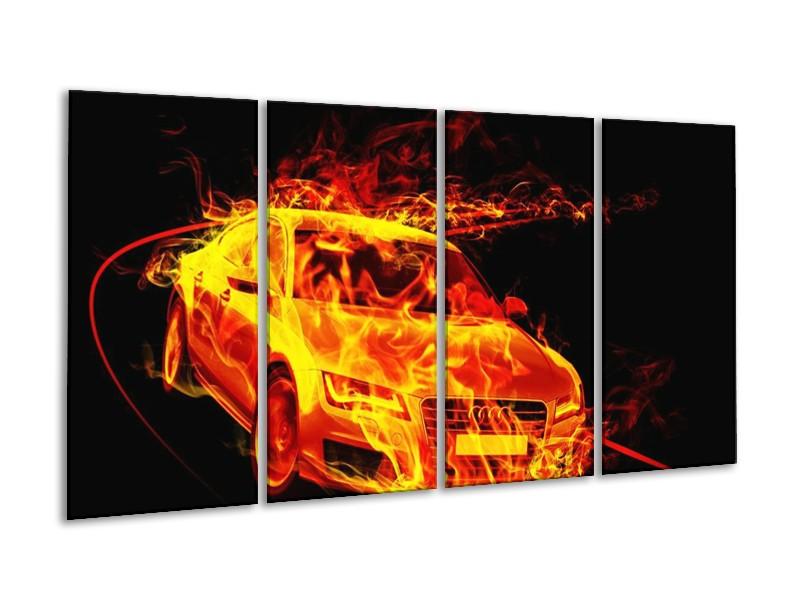 Canvas schilderij Audi | Geel, Goud, Oranje | 160x80cm 4Luik