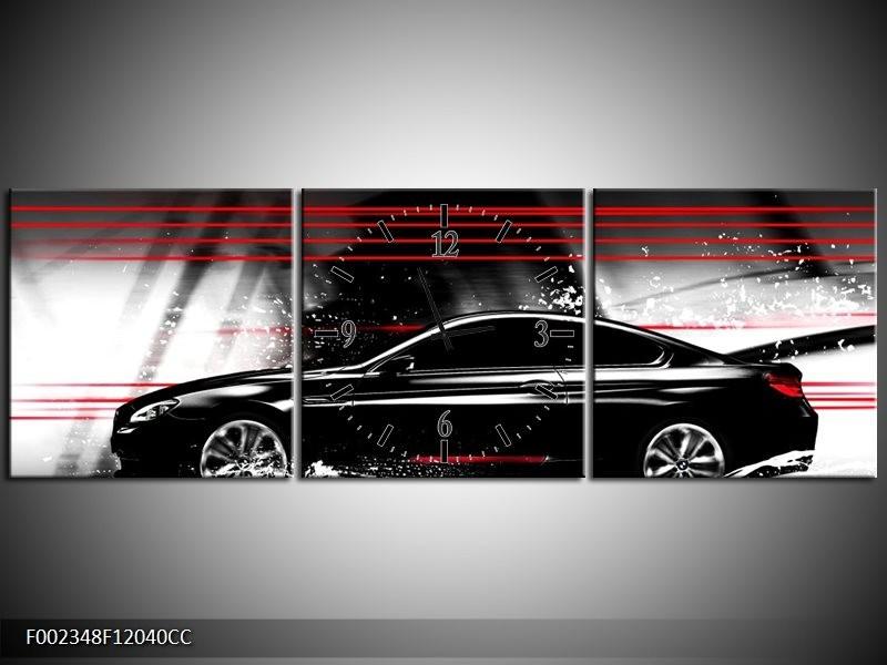 Klok schilderij Auto   Zwart, Rood, Grijs   120x40cm 3Luik