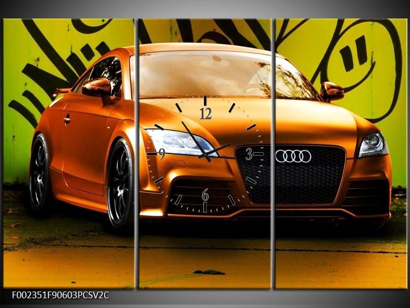 Klok schilderij Audi   Bruin, Groen, Zwart   90x60cm 3Luik