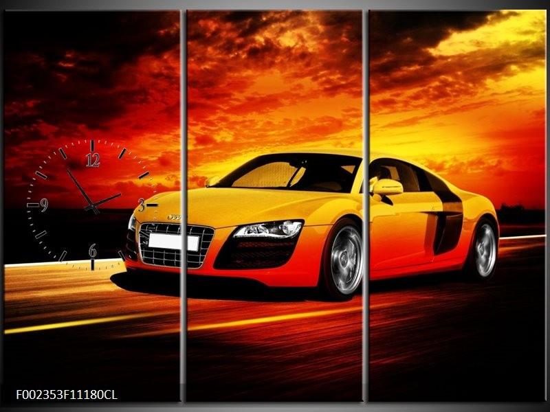 Klok schilderij Audi   Geel, Oranje, Zwart   111x80cm 3Luik