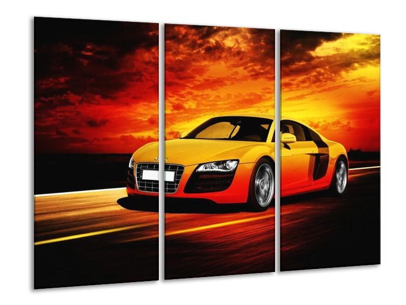 Canvas schilderij Audi | Geel, Oranje, Zwart | 120x80cm 3Luik