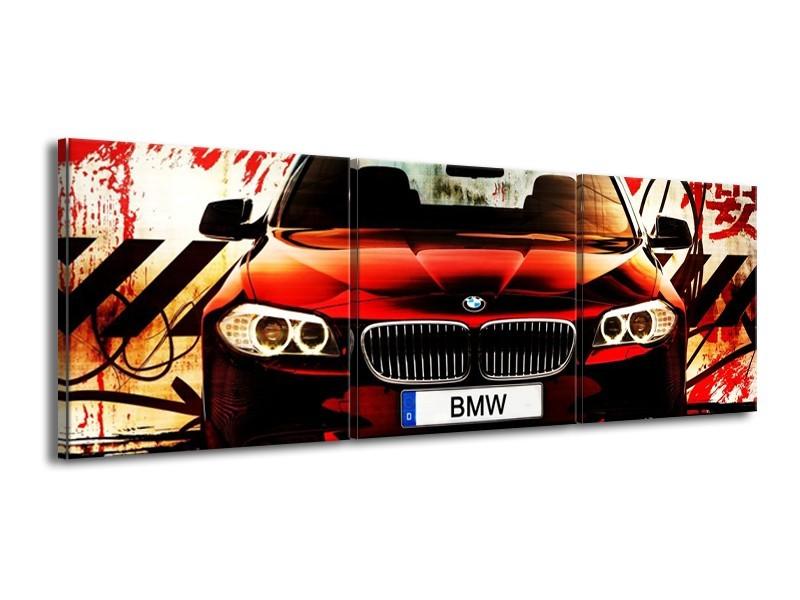 Glas schilderij BMW   Zwart, Rood, Wit   150x50cm 3Luik