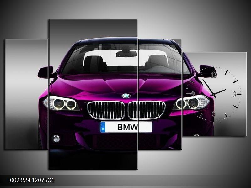 Klok schilderij BMW   Paars, Grijs   120x75cm 4Luik