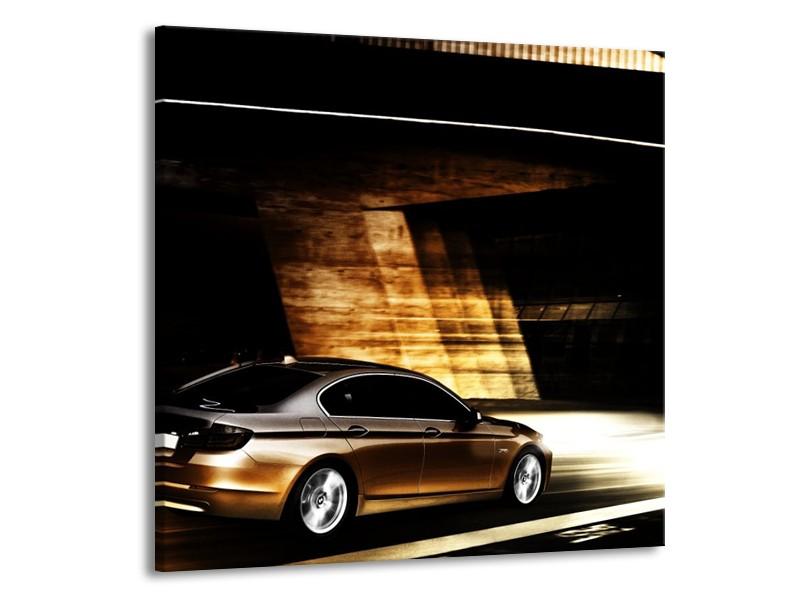 Glas schilderij BMW | Zwart, Goud, Wit | 70x70cm 1Luik