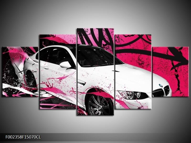 Klok schilderij BMW   Paars, Rood, Wit   150x70cm 5Luik