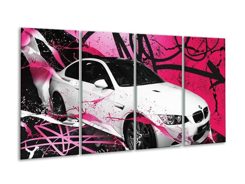 Glas schilderij BMW | Paars, Rood, Wit | 160x80cm 4Luik