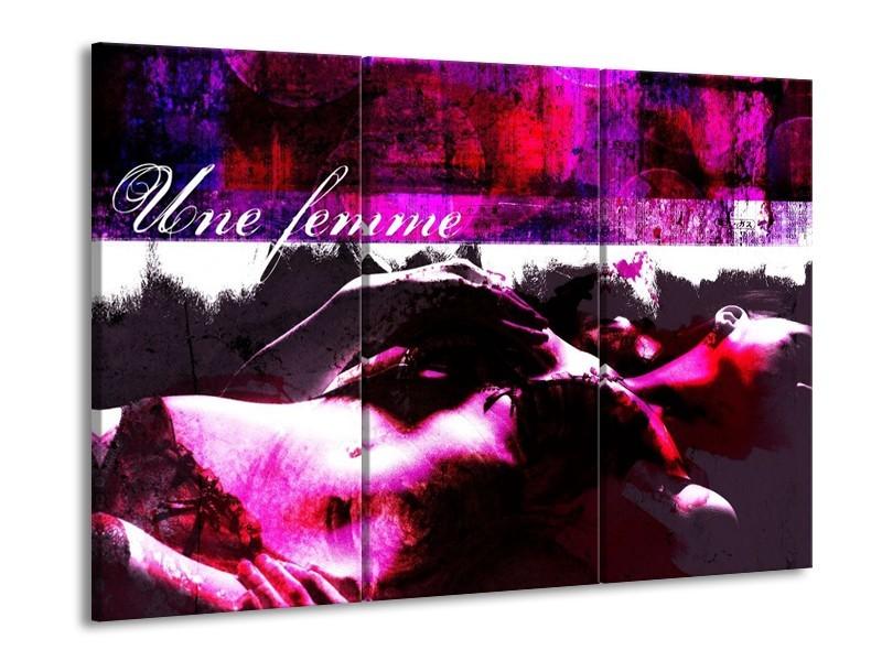 Canvas schilderij Lichaam | Paars, Wit, Zwart | 90x60cm 3Luik