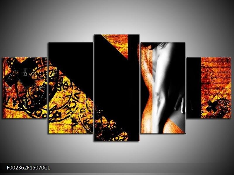 Klok schilderij Lichaam | Geel, Oranje, Zwart | 150x70cm 5Luik