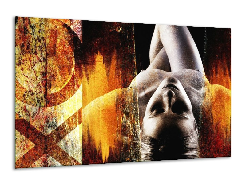 Glas schilderij Lichaam | Geel, Oranje, Zwart | 120x70cm 1Luik