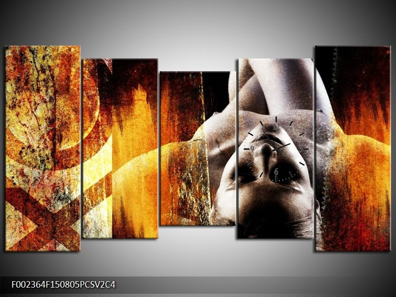 Klok schilderij Lichaam | Geel, Oranje, Zwart | 150x80cm 5Luik