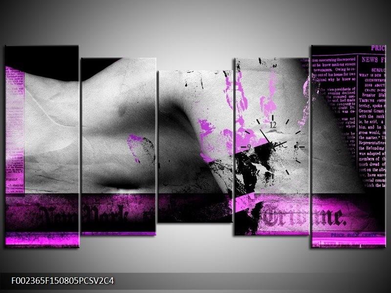 Klok schilderij Lichaam | Paars, Grijs, Zwart | 150x80cm 5Luik