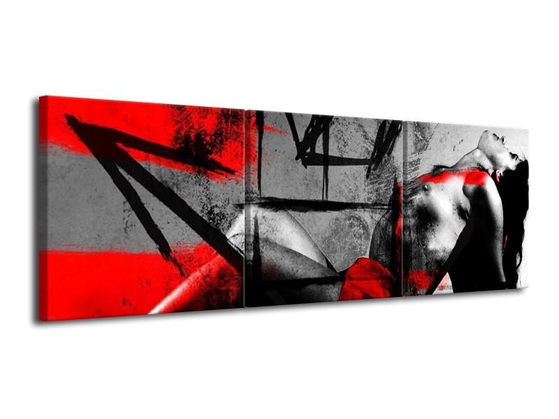 Canvas schilderij Lichaam | Rood, Grijs, Zwart | 120x40cm 3Luik