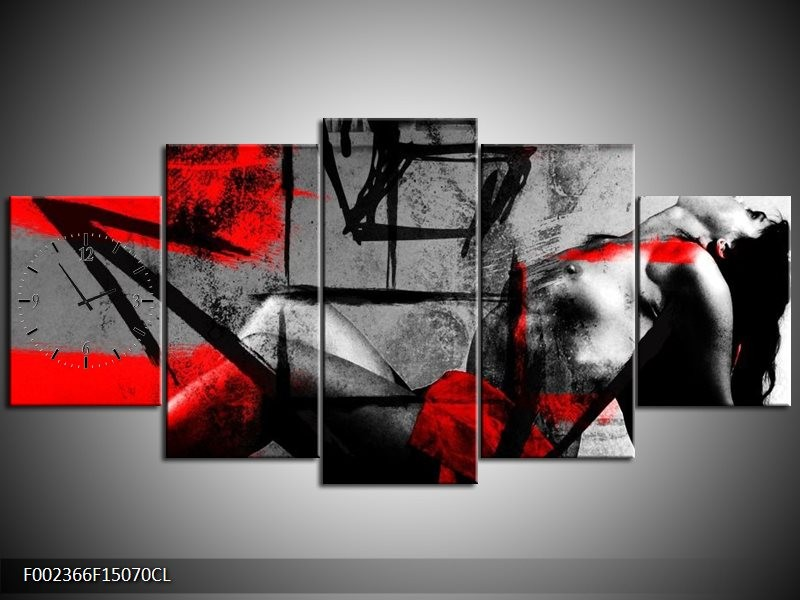 Klok schilderij Lichaam | Rood, Grijs, Zwart | 150x70cm 5Luik