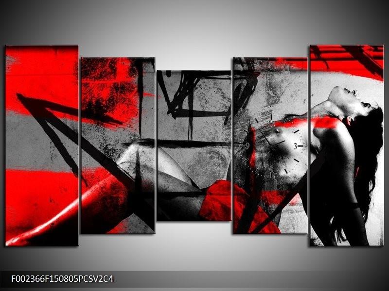 Klok schilderij Lichaam | Rood, Grijs, Zwart | 150x80cm 5Luik