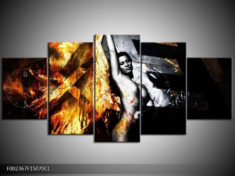 Klok schilderij Lichaam | Goud, Zwart, Grijs | 150x70cm 5Luik