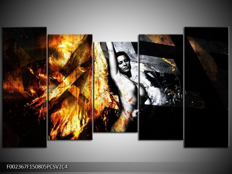 Klok schilderij Lichaam | Goud, Zwart, Grijs | 150x80cm 5Luik