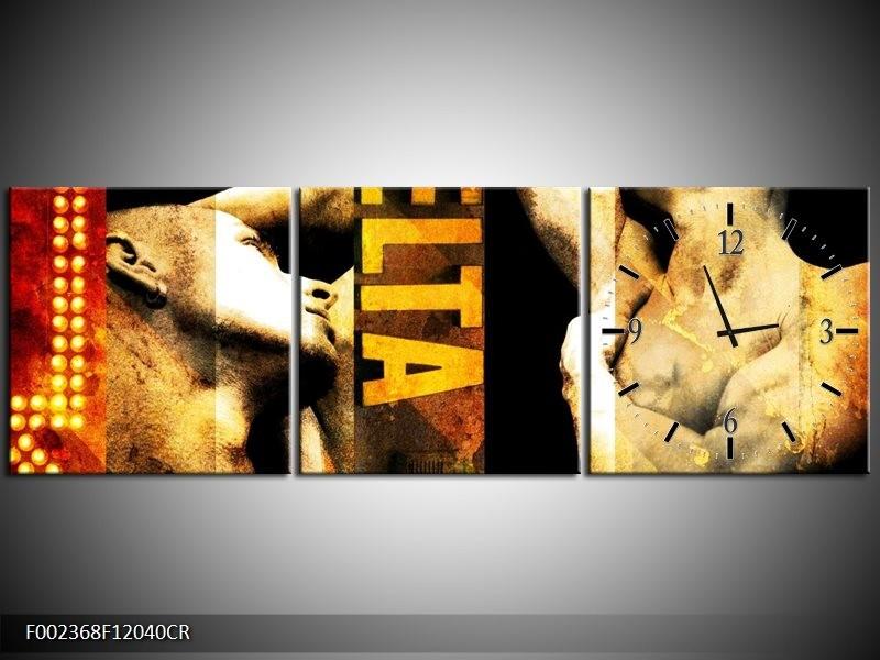 Klok schilderij Lichaam | Geel, Goud, Zwart | 120x40cm 3Luik