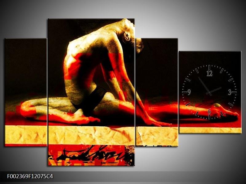 Klok schilderij Lichaam | Rood, Zwart, Goud | 120x75cm 4Luik