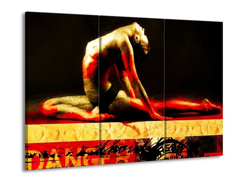 Glas schilderij Lichaam | Rood, Zwart, Goud | 90x60cm 3Luik