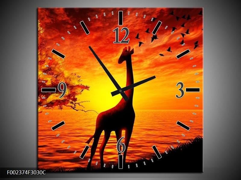 Klok schilderij Dieren   Geel, Oranje, Zwart   30x30cm 1Luik