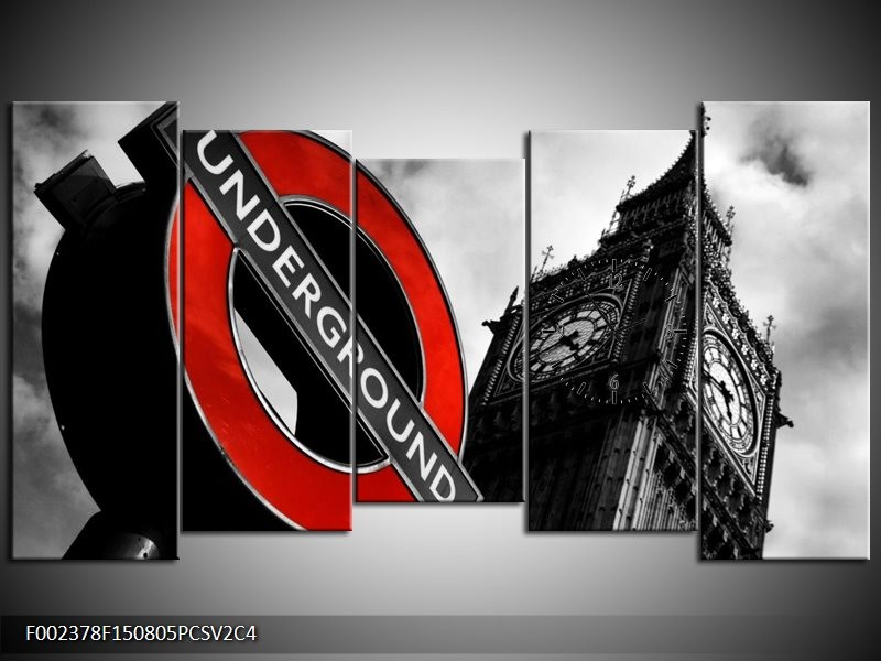 Klok schilderij Londen | Zwart, Rood, Wit | 150x80cm 5Luik