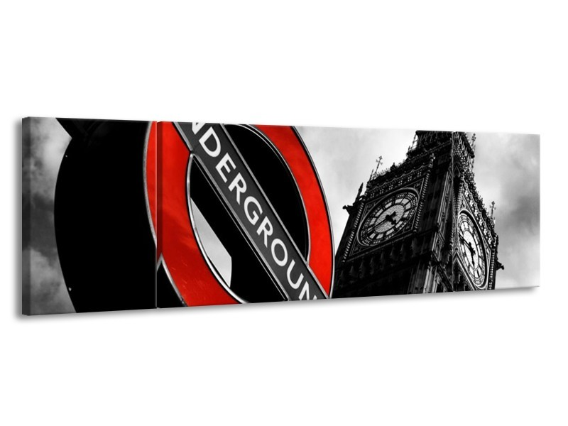 Glas schilderij Londen   Zwart, Rood, Wit   170x50cm 3Luik