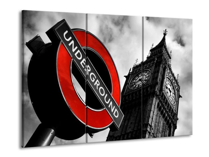 Canvas schilderij Londen | Zwart, Rood, Wit | 90x60cm 3Luik