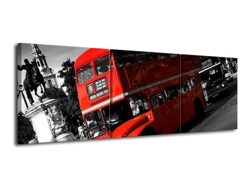 Glas schilderij Londen   Rood, Zwart, Grijs   120x40cm 3Luik