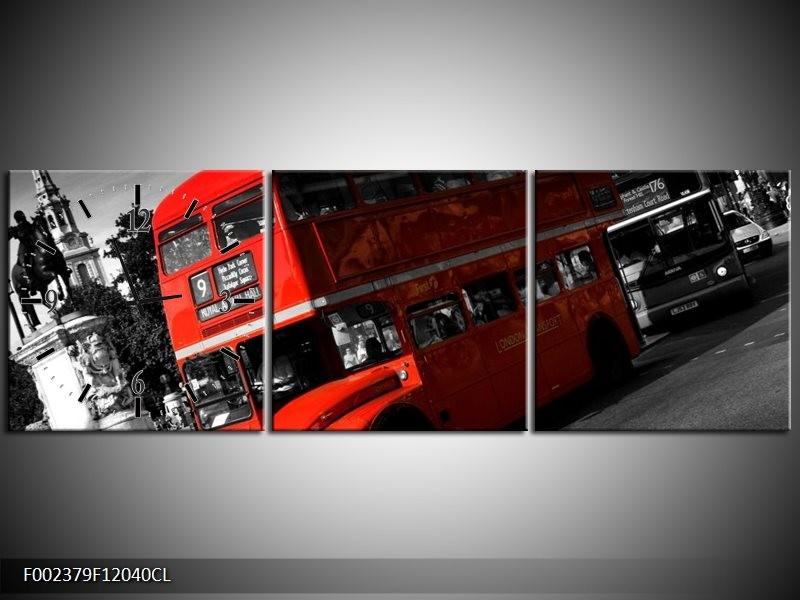 Klok schilderij Londen | Rood, Zwart, Grijs | 120x40cm 3Luik