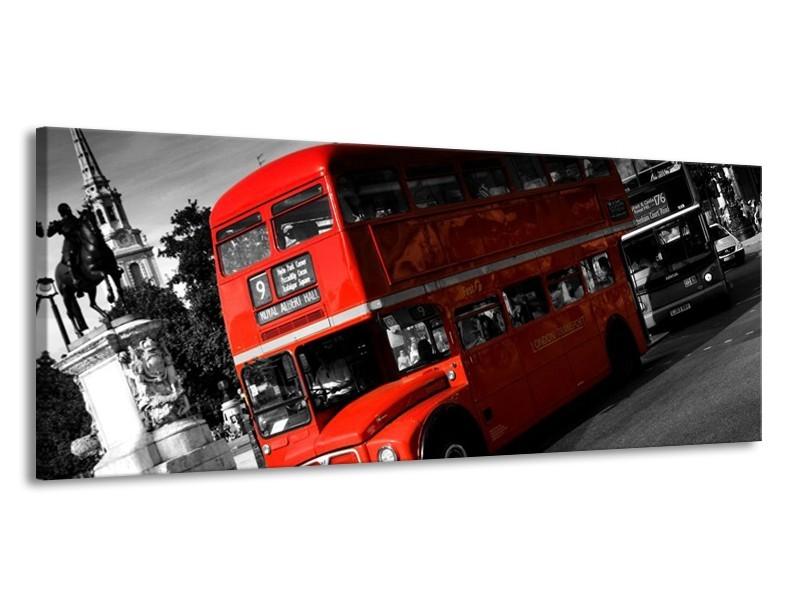 Glas schilderij Londen   Rood, Zwart, Grijs   145x58cm 1Luik