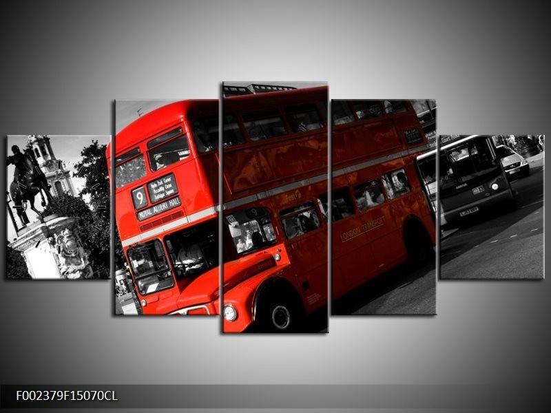 Klok schilderij Londen | Rood, Zwart, Grijs | 150x70cm 5Luik