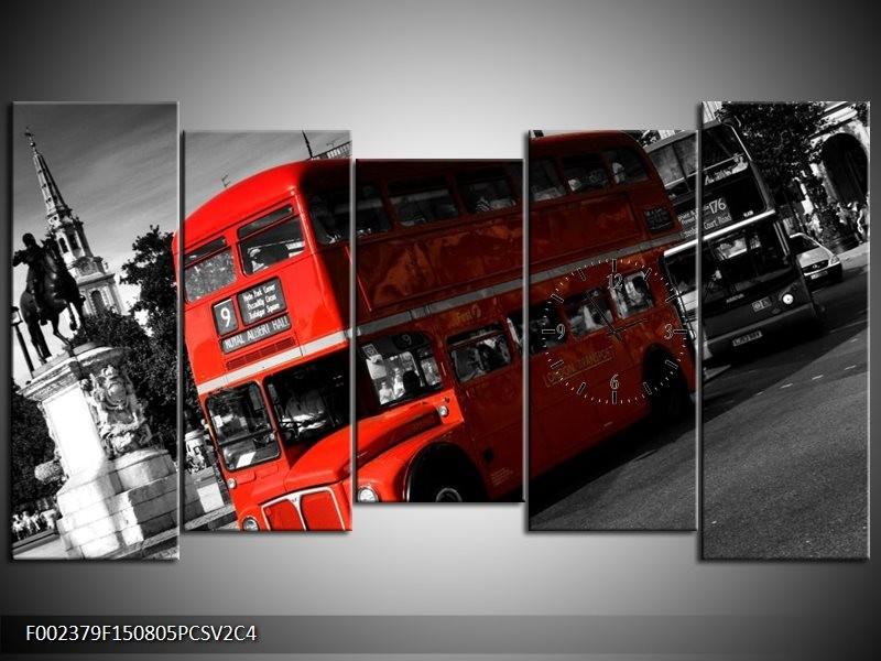 Klok schilderij Londen | Rood, Zwart, Grijs | 150x80cm 5Luik